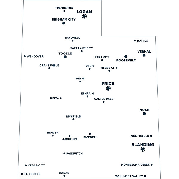 Map of Utah with cities marked that have Statewide campuses in them