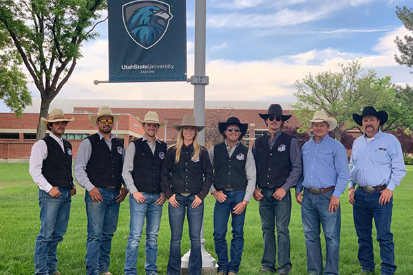 Utah State University Eastern's rodeo team is headed to the College National Finals Rodeo in Casper, Wyoming. Team members are (left to right) Kale Lamb, Scott Lauaki, Bowdie Jacobson, Autumn Snyder, Austin Allred, Clayson Hutchings, with coaches Monte Jensen, and Leon McElprang.